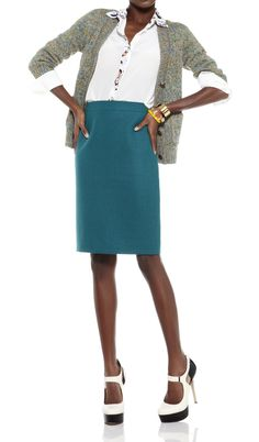 Turquoise pencil skirt work office