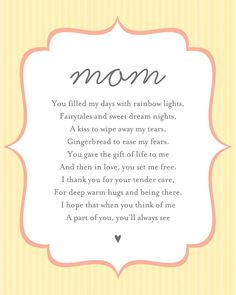 Happy Mothers Day Discover Personalized Message or Poem Art Print / Anniversary Gift or Custom Nursery Wall Art / Digital Print / Choose your pattern & colors Mom Poems, Mothers Day Poems, Mothers Day Images, Happy Mother Day Quotes, Mother Quotes, Mothers Love, Happy Mothers Day, Daddy Poem, Thank You Mom Quotes