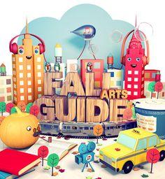 Village Voice Fall Arts Guide by Benjamin Voldman, via Behance