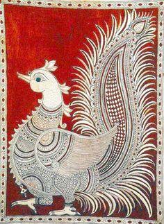 Royal Peacock Pair, Folk Art Kalamkari Painting on CottonArtist - M. Madhubani Art, Madhubani Painting, Peacock Painting, Fabric Painting, Indian Paintings, Animal Paintings, Kerala Mural Painting, Kalamkari Painting, Indian Folk Art