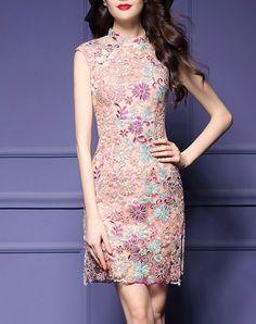 #AdoreWe #VIPme Sheath Dresses - multiflora Yellow Floral Embroidered Sheath Mini Dress - AdoreWe.com