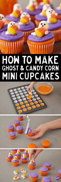 How to Make Ghost & Candy Corn Mini Cupcakes - These mini cupcakes are adorable and easy to make! Tint cupcake batter with orange and top with purple icing. Decorate with Wilton Ghost and Candy Corn Icing Decorations. Great for Halloween party ideas, scho Dulces Halloween, Pasteles Halloween, Halloween Sweets, Halloween Goodies, Halloween Food For Party, Halloween Candy, Halloween Cupcakes Easy, Halloween Ideas, Halloween Deserts Easy