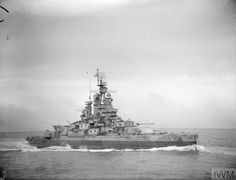 Battleship USS Nevada BB-36 off of Cherbourg France on June 25, 1944 Picture taken from HMS Enterprise From the Imperial War Museum Archives - Royal Navy official photographer Allen, E E (Lt)