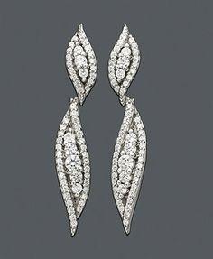 Wrapped in Love™ Diamond Earrings, 14k White Gold Diamond Drop (1 ct. t.w.); Macy's