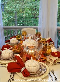 Autumn Table Setting with Spode Woodland and Pumpkin Tureens