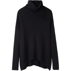 Helmut Lang Ribbed Turtleneck (€165) ❤ liked on Polyvore featuring tops, sweaters, jumpers, knits, long sweaters, black jumper, ribbed sweater, black pullover sweater and long turtleneck sweater