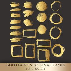 Gold Brush Paint Strokes Clip Art - gold metallic glitter strokes circles frames painted logo design elements clipart for scrapbooking cards (4.99 USD) by ItGirlDigital