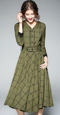 Elegant Long Sleeve Grid Print Skater Dress