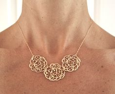 Statement Necklace, Gold Necklace, Bridesmaid Necklace, Bridal Necklace, Bib Necklace, Christmas Gift on Etsy, $35.00