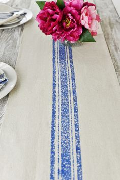 Use the Feed Sack Table Runner in blue to update your dining table. This sophisticated runner is made of cotton and features a bright blue s. Paper Lantern Lights, Paper Lanterns, Coffee Table Runner, Table Runners, Rustic Centerpieces, Centerpiece Decorations, Blue Feeds, Yosemite Wedding, Striped Table