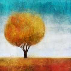"""""""Golden Tree II"""" by Ken Roko, fall colors give life to this abstract artwork of a lone tree. Find this on canvas or poster print at CanvasOnDemand.com"""