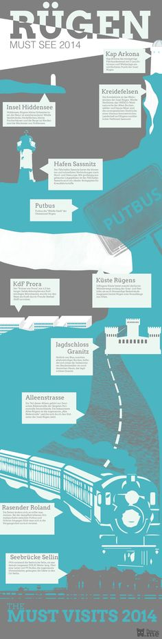 Infografik - Ausflugsziele Rügen 2014 Holidays Germany, Graphic Design Layouts, Baltic Sea, Weekend Trips, Germany Travel, Hinata, Places To See, Seaside, Road Trip
