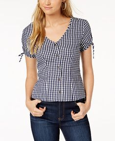 Maison Jules Cotton Gingham V-Neck Top, Created for Macy's - Tops - Women - Macy's Couture Tops, Short Tops, V Neck Tops, Blouse Designs, Gingham, Blouses For Women, Fashion Outfits, Clothes, Macy's Online