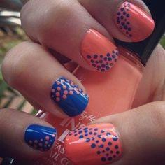 Peach/navy nail polish.....I would do Orange/navy for the Broncos!!  :)