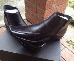 Mens Black Mavericks Full Leather Dress Ankle Shoe Boot 11 (44)