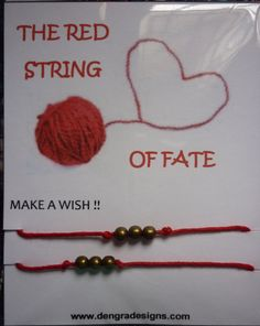 The RED STRING of FATE  Double 2 x  Make A Wish by DengraDesigns, $1.95 Red String Of Fate, Make A Wish, Special Day, Tatting, Crochet Necklace, Marriage, Advice, Adventure, Unique Jewelry