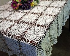 Browse unique items from DoilyMania on Etsy, a global marketplace of handmade, vintage and creative goods. Tablecloth Ideas, Crochet Tablecloth, Crochet Doilies, Crochet Flower Squares, Crochet Flowers, Crochet Cross, Cotton Thread, Beautiful Crochet, Great Gifts