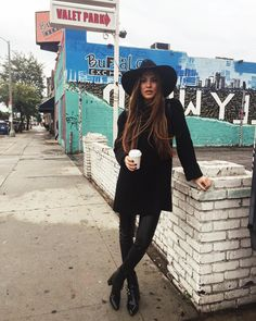 """""""Taking it easy in an all black look on my first day in LA.  #neginla"""""""