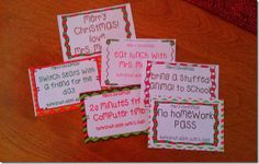 FREE coupons to give to your students as a Christmas gift.