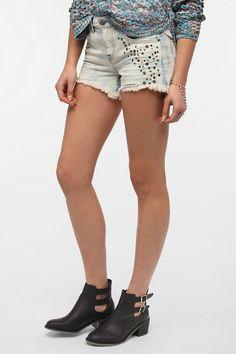 BDG Freja Mid-Rise Denim Cutoff Short - Embellished  #UrbanOutfitters