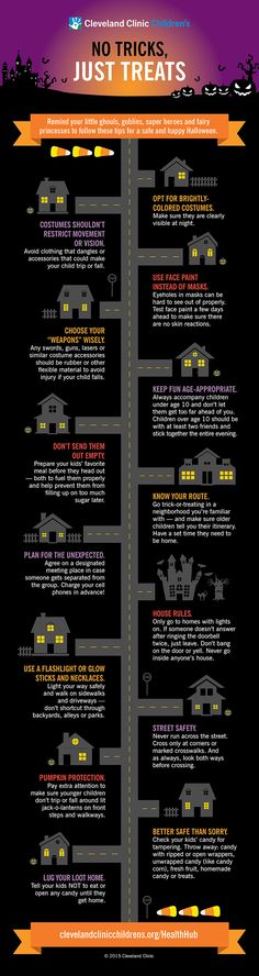 This Halloween keep your family safe by following the Cleveland Clinic's trick-or-treat safety guide.