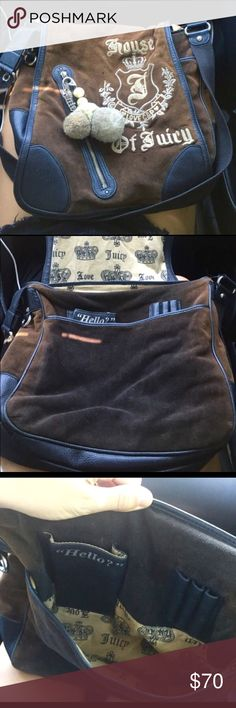 """Juicy Couture book bag Dark brown the front flips up big and roomy inside will fit a 15"""" laptop there is also another compartment to put folders or papers with pen and pencil holder super cute has a little charm on the front of the bag. Juicy Couture Bags Laptop Bags"""