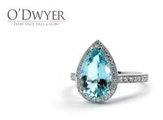 Bellevue Ring - 18ct white gold ring with an pear shaped Aquamarine and sparkling diamonds. Vigselring Förlovningsring