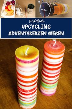 UPCYCLING Advent candles pour from candle scraps - This Advent candle can be easily made by yourself. The candle consists of wax residues from already burned candles and a chip box that serves as a ca Advent Candles, Diy Candles, Pillar Candles, Upcycled Crafts, Diy And Crafts, Diy Advent Calendar, Kids Calendar, Blank Calendar, Advent Season