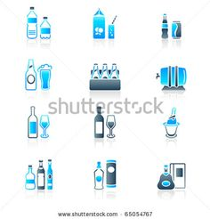 Traditional non- and alcoholic drinks icon-set in blue-gray - stock vector