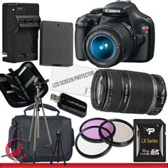 Canon EOS Rebel T3 Digital Camera and 18-55mm & 55-250 IS II Lens Kit Package 5 by Canon. $619.99. Package Contents:  1- Canon EOS Rebel T3 Digital Camera and 18-55mm & 55-250 IS II Lens Kit With all supplied accessories 1- 16GB SDHC Class 10 Memory Card 1- Rapid External Ac/Dc Charger Kit   1- USB Memory Card Reader  1- Rechargeable Lithium Ion Replacement Battery  1- Weather Resistant Carrying Case w/Strap  1- Pack of LCD Screen Protectors  1- Camera & Lens Cleaning K...