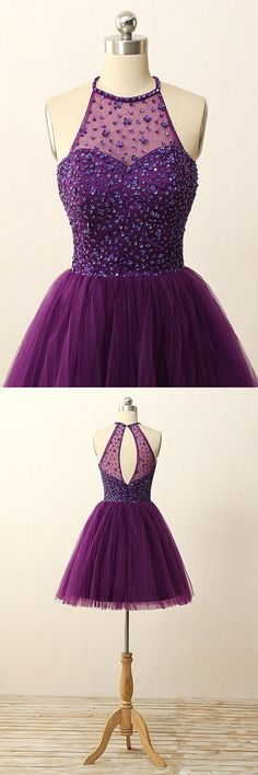 2016 homecoming dress,purple homecoming dress,halter homecoming dress,sparkly homecoming dress,short homecoming dress,sleeveless homecoming dress,elegant homecoming dress,homecoming dress with sequins