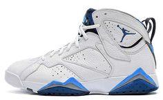 6edac8763a6 304775-107 Air Jordan 7 White French Blue University Blue-Flint Grey