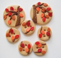 Button Fall Fest handmade polymer clay buttons 7 by digitsdesigns Easy Polymer Clay, Polymer Clay Projects, Polymer Clay Jewelry, Fall Fest, Precious Metal Clay, Pasta Flexible, Button Art, Clay Creations, Craft Gifts