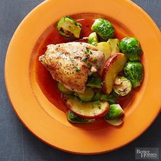Pan-Roasted Chicken with Brussels Sprouts and Apples