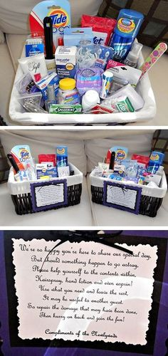 DIY Bathroom Baskets...if I have time before the wedding this would be a nice touch. @Melissa Squires Dowsling I like the little note- we are still doing these right ?: