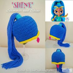Crochet Patterns Hoodie Shimmer and shine crochet wig hat twin genies hatcharacter Crochet Baby Halloween, Crochet Kids Hats, Crochet Cap, Crochet Beanie, Crochet Clothes, Cabbage Patch Hat, Yarn Wig, Crochet Character Hats, Crochet Baby Blanket Beginner