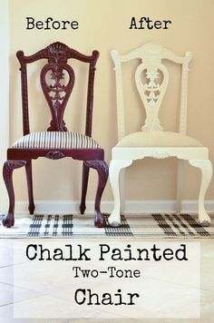 Before and After chalk painted French Dining Room Chair Makeover