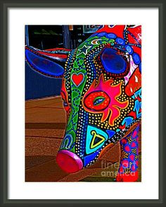 Pig Art Statue Head Shot Framed Print By Margaret Newcomb-Photography print #pigs #paintedpig #pigart #canvasprints #cards #illinois #quadcitiesartists