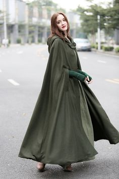 Women Fashion Autumn and Winter Maxi Hooded Wool Coat Jacket Cape Casual Cashmere Shawl Loose Long Hooded Cloak Hooded Wool Coat, Hooded Cloak, Hooded Capes, Hooded Scarf, Hooded Dress, Mode Abaya, Mode Hijab, Cashmere Cape, Wool Cape