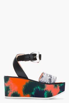 KENZO Kenzo Orange Printed Snakeskin Flatform Sandals