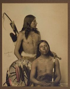 Spectacular photograph of Frog (left) and Samuel Lone Bear (Mato Wanjila) (right), Oglala Lakota. Both appeared with Buffalo Bill's Show for several years as well as appearing in several early Hollywood movies around 1912.  *s*