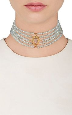 Shop Cathy Waterman Aquamarine Beaded Choker  - Necklaces - 505165163