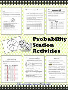 Three fun station activities for learning about theoretical and experimental probability and the Law of Large Numbers. $