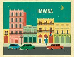 Havana Skyline Art Print, Cuba Travel Print, Havana Cuba Artwork, Havanna art gift, Retro car print, Cuban Horizontal Art, - style E8-O-HAV