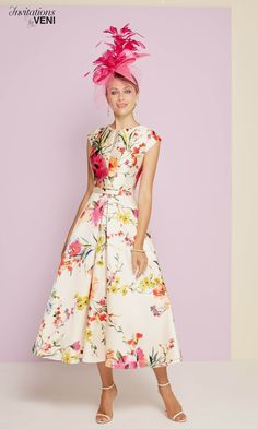 Veni Infantino - Invitations By Veni 29346 Special Occasion Dress - - Fab Frocks Mother Of The Bride Fashion, Mother Of Bride Outfits, Groom Outfit, Groom Dress, Ascot Dresses, Ascot Outfits, Tea Length Dresses, Lovely Dresses, Special Occasion Dresses