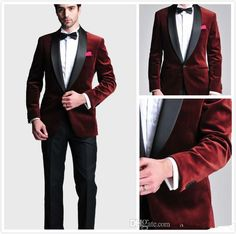 Burgundy Velvet Slim Fit 2016 Groom Tuxedos Wedding Suits Custom Made Groomsmen Best Man Prom Suits Black Pants Jacket+Pants+Bow Tie+Hanky Man Suits Mens Dress Clothes From Perfectwardrobe, $76.89| Dhgate.Com