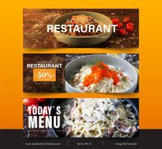 Design banner for social networks, templ... | Premium Vector #Freepik #vector #banner #food #menu #sale Facebook Cover Template, Delicious Restaurant, Banner Design, Vector Design, Ethnic Recipes, Food, Essen, Meals, Yemek