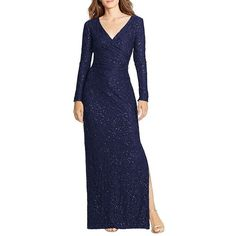 Lauren Ralph Lauren Sequined-Lace Surplice Gown ($220) ❤ liked on Polyvore featuring dresses, gowns, lighthouse navy, navy blue dress, long sleeve lace dress, navy lace dress, navy blue evening gown and lace dress