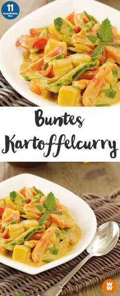 Buntes Kartoffel Curry mit Paprika und Zuckererbsen (4 EL Kokosmilch, 4 EL Wasser)