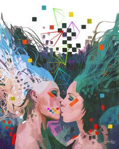 two girls kissing gay lesbian rights rainbow photoshop painting digital art design
